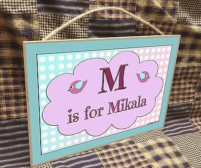 "Personalized Pink Birds Name Kids Room Baby Nursery 7"" x 10.5"" SIGN Plaque"