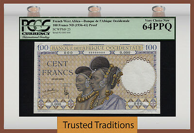 Tt Pk 23 1936-41 French West Africa 100 Francs Pcgs 64 Ppq Pop 9 Finest Known!