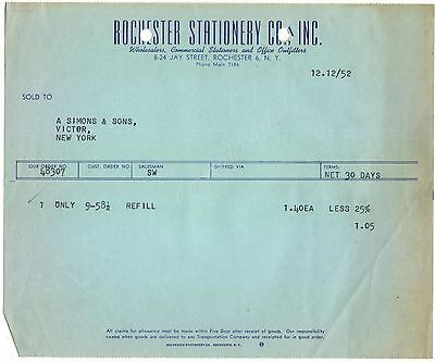 Rochester Stationery Co 1952 NY  Vintage Billhead Stationer Office Outfitters