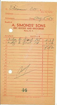Victor NY A Simonds Sons Dry Good Groceries 1954 Vintage Receipt