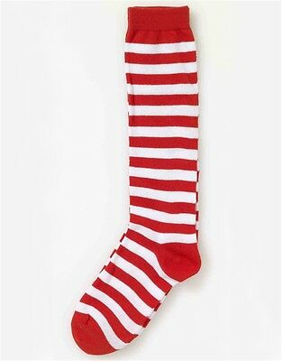 Child Red and White Striped Christmas Candy Cane Costume Stockings Socks