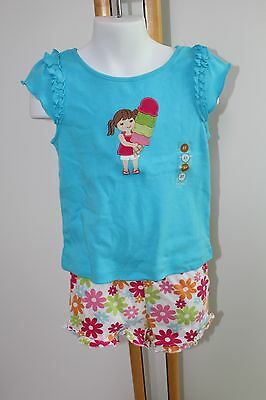 Gymboree Ice Cream Sweetie Blue Top Shirt Floral Knit Shorts Girls Size 3T NWT