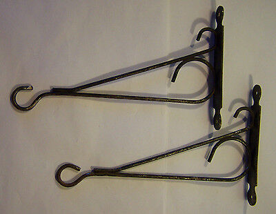 2 Vintage Decorative Black Painted Metal Wall Mount Bracket Hooks 8 3/4""