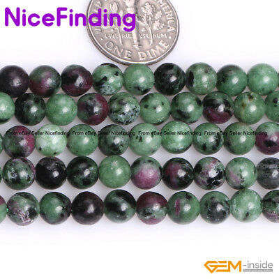 """Natural Gemstone Red Green Ruby Zoisite Loose Stone Beads For Jewelry Making 15"""""""