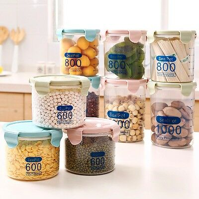 Plastic Kitchen Food Cereal Grain Bean Rice Storage Pot Container Box Case New