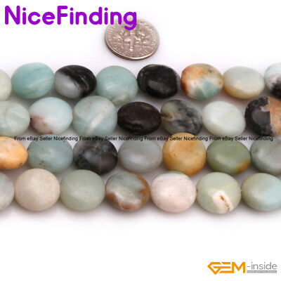 """14mm Natural Gemstone Coin Assorted Stone Beads For Jewelry Making Strand 15""""DIY"""