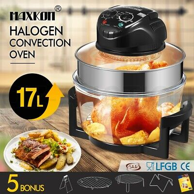 Maxkon 17L Halogen Low Fat Oven Turbo Convection Cooker Electric Air Fryer Black