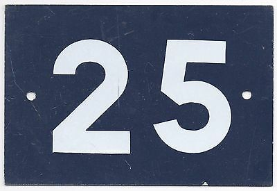 Old blue French house number 25 door gate wall plate plaque metal sign