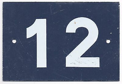 Old blue French house number 12 door gate wall plate plaque metal sign