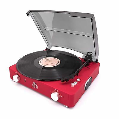 GPO Stylo II Turntable Red 3 Speed Record Player Built In Speakers Retro Vinyl