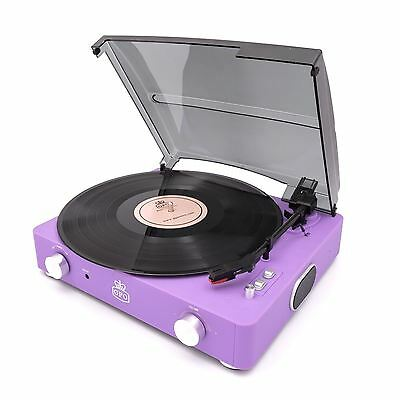 GPO Stylo II Turntable Lilac 3 Speed Record Player Built In Speakers Retro Vinyl