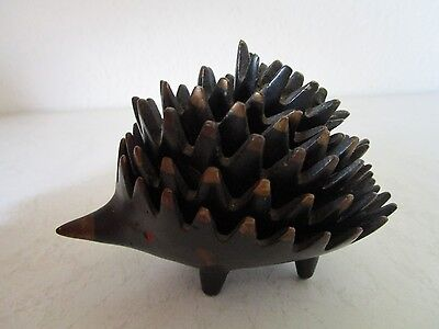 6tlg.Set Bronze Igel-Aschenbecher Walter Bosse Design Hedgehog Ashtrays (C846)