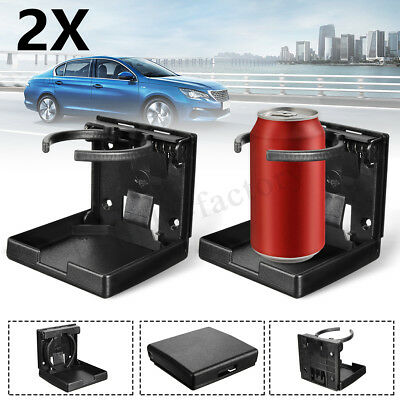 2X NEW Folding Drink Cup Holders For 4WD Marine Boat Caravan Truck Car BLACK