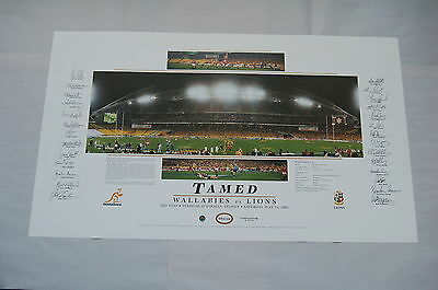 Australian Wallabies 2001 Vs British Lions Tamed Hand Signed Print Coa