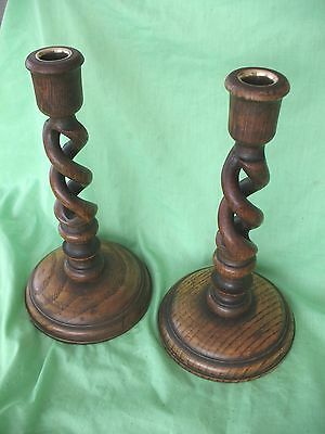 Pair old antique Oak open barley twist candle sticks with brass sconces