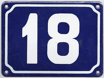 Old blue French house number 18 door gate plate plaque enamel steel metal sign