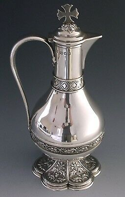 STUNNING HUGE ENGLISH SILVER HOLY WINE COMMUNION FLAGON JUG 645g 11inch ANTIQUE