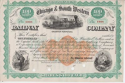 Stock Certificate - Chicago & South Western Railway w/Rev RN-U1 - Lot 592