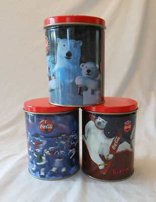 COKE coca cola 1995 empty tin x3 Christmas polar bear nice condition holidays