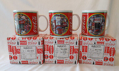 COKE coca cola eras 1930-1940 1950-1960 1960-1970 Enesco mug x3 was sealed
