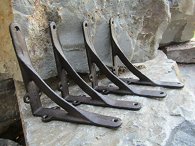 "Lot of 4 Antique-Style Cast Iron Small Arch 6"" x 6"" SHELF BRACKETS Hangers"