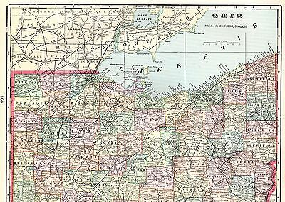 1904 Antique OHIO Map Vintage Original Map of Ohio State Map Gallery Wall  4025