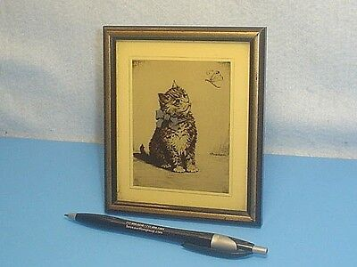 Vintage Kf Buschbaum ''cat And Butterfly'' Photo Etching Print In Frame