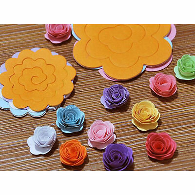 Circular stereo roll Decal DIY rainbow 11 color origami flowers