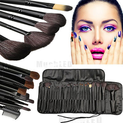 24pcs Professional Soft Cosmetic Eyebrow Shadow Makeup Brush Set Kit + Pouch Bag