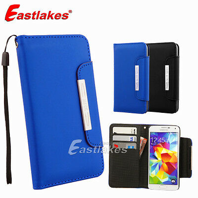 Premium Frosted Matte Luxury Leather Wallet Case Cover for Samsung Galaxy S5 4G