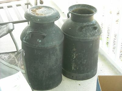 lot of  2 two full size heavy antique milk cans good condition  10 gallon? farm
