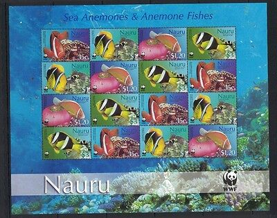 2003 Nauru Fish WWF Issue SG 566/69 Sheetlet 20 Muh