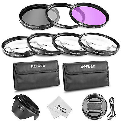 Neewer 55mm Filter UV CPL FLD and Macro Close-up +1 +2 +4 +10 with Accessory Kit