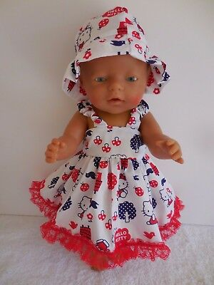"""Baby Born 17""""  Dolls Clothes Hello Kitty Summer Outfit"""