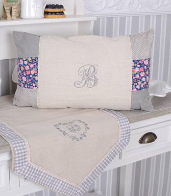 Cushion in Country House Style Incl Filling Lace Trims & Monogram Embroidery