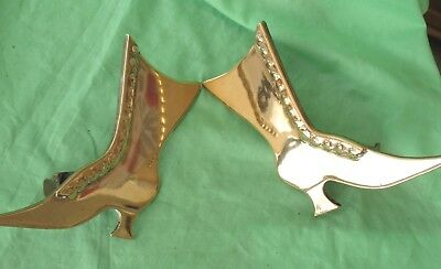 Pair of old antique brass Victorian ladies high top boot fireside decorations