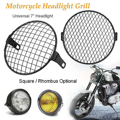 7'' Motorcycle Headlight Mesh Grill Mask Protect Side Mount Square/Rhombus Cover