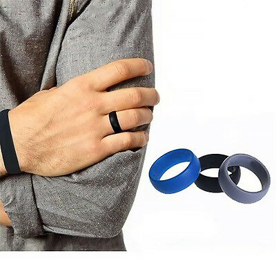 Men Women 3PC Wedding Ring Rubber Silicone Band Active Sport Gym Fashion Gift