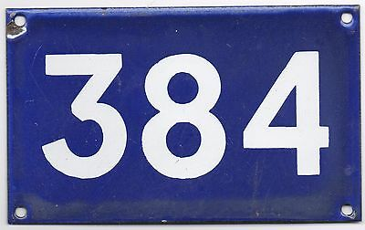 Old Australian used house number 384 door gate enamel metal sign French blue