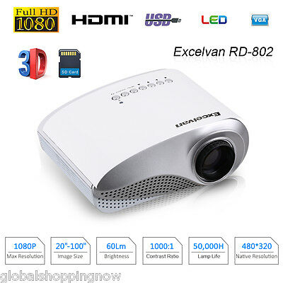 Mini Proyector Multimedia LED/LCD Cinema en Casa Projector VGA HDMI SD USB PC ES