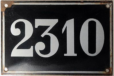 Large old black French house number 2310 door gate wall plate enamel metal sign