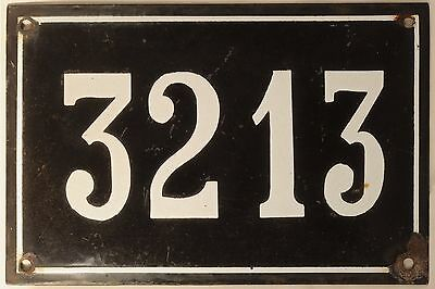 Large old black French house number 3213 door gate wall plate enamel metal sign