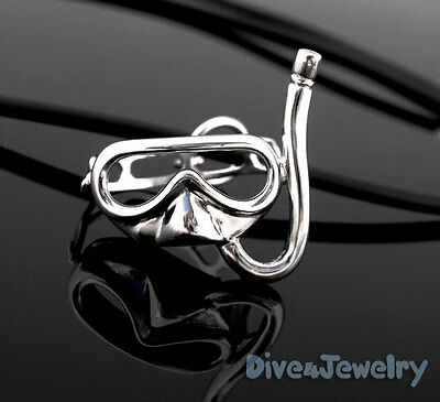 Diving Snorkel Mask with Moveable Strap SOLID STERLING SILVER Pendant w Necklace