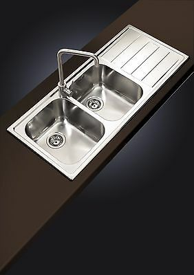 Clearwater Linear 2.0 Bowl Right Hand Drainer Kitchen Sink  Inc Waste Kit