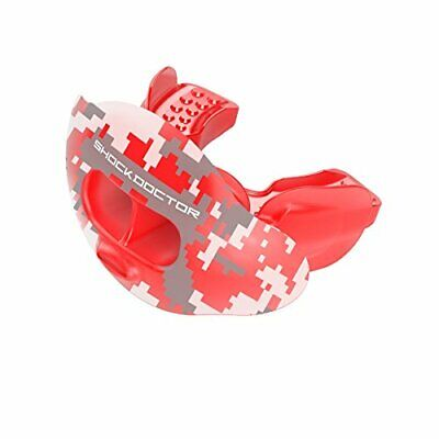 Shock Doctor 3300 Max Airflow Lip Guard Mouthguard With Tether, Trans Red Camouf