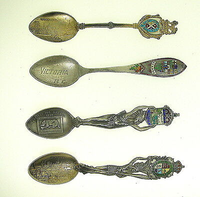 Lot Of 4 Amazing Canada Enameled Sterling Souvenir Spoons -Part Of Lg Collection