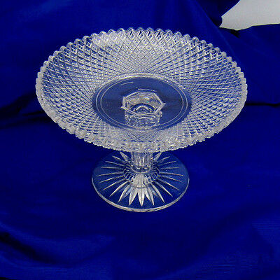 Antique Cut Glass Compote Footed Bowl Extra Nice!