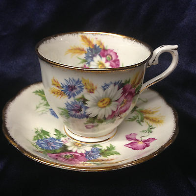 Royal Albert Harvest Bouquet Footed Cup & Saucer 8 Oz Gold Brush Trim Flowers