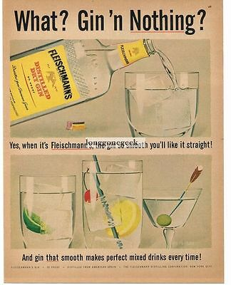 1956 FLEISCHMANN'S Gin Mixed Drinks art Vtg Print Ad