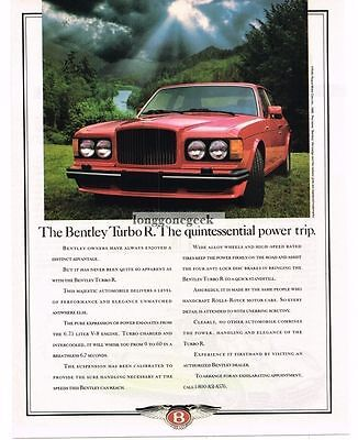 1989 Bentley Turbo R Red Vtg Print Ad